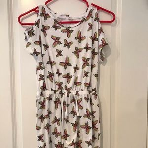 Butterfly cold shoulder dress